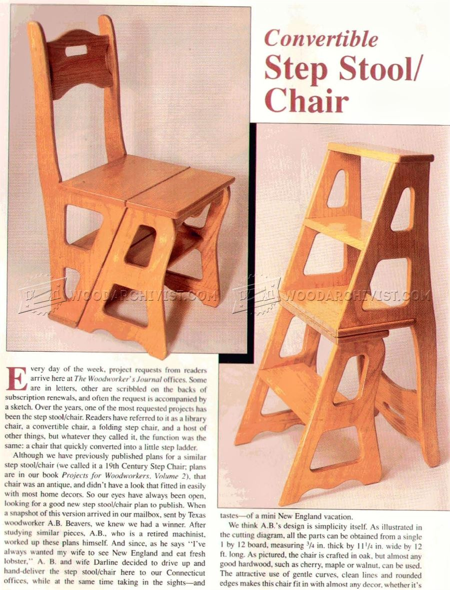 Chair Step Stool Plans Woodarchivist