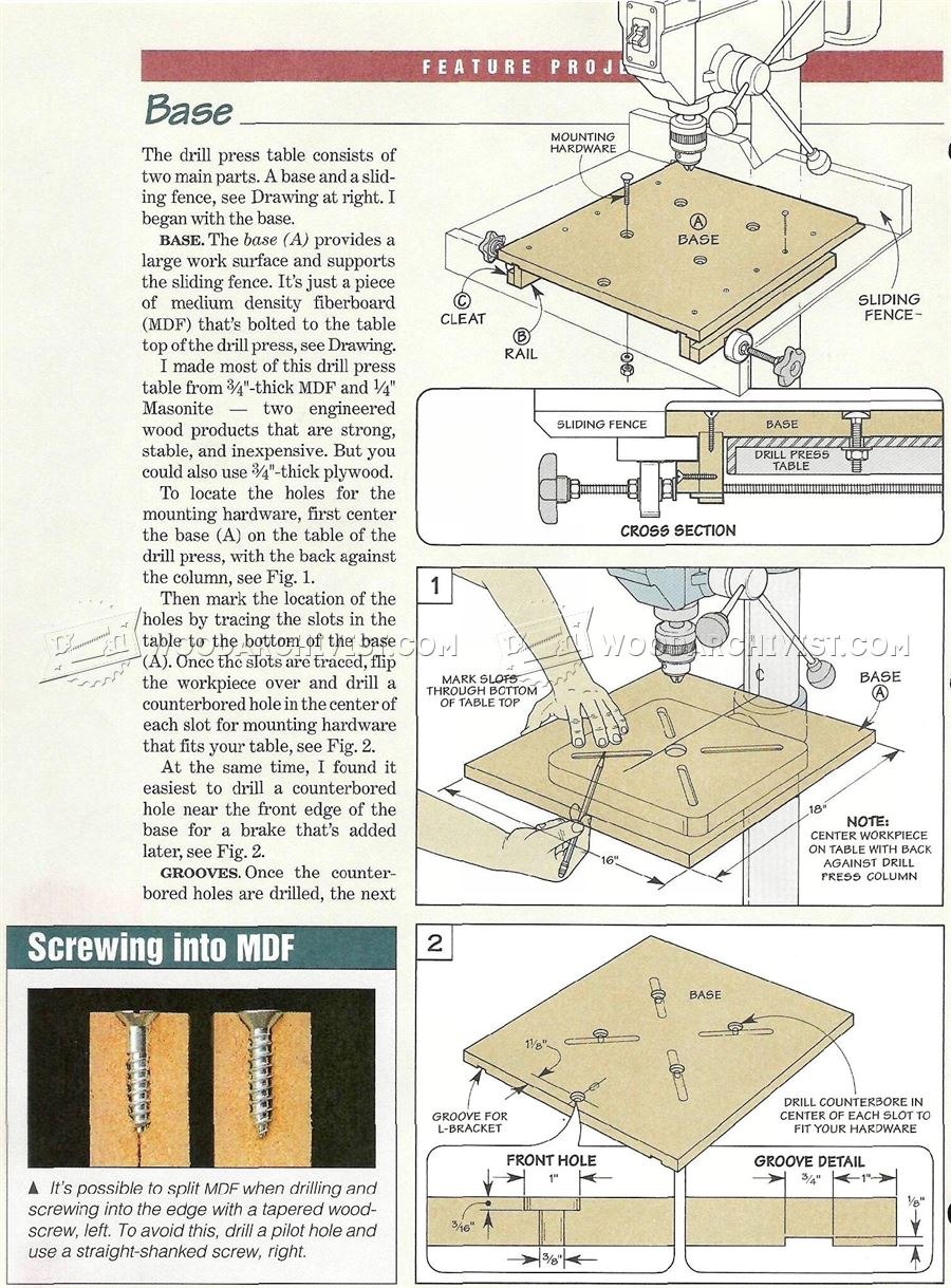 Drill Press Table and Fence Plans