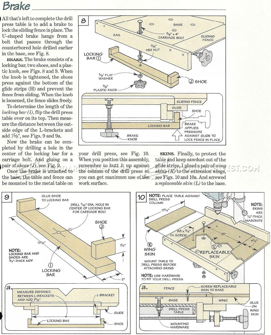 #2480 Drill Press Table and Fence Plans