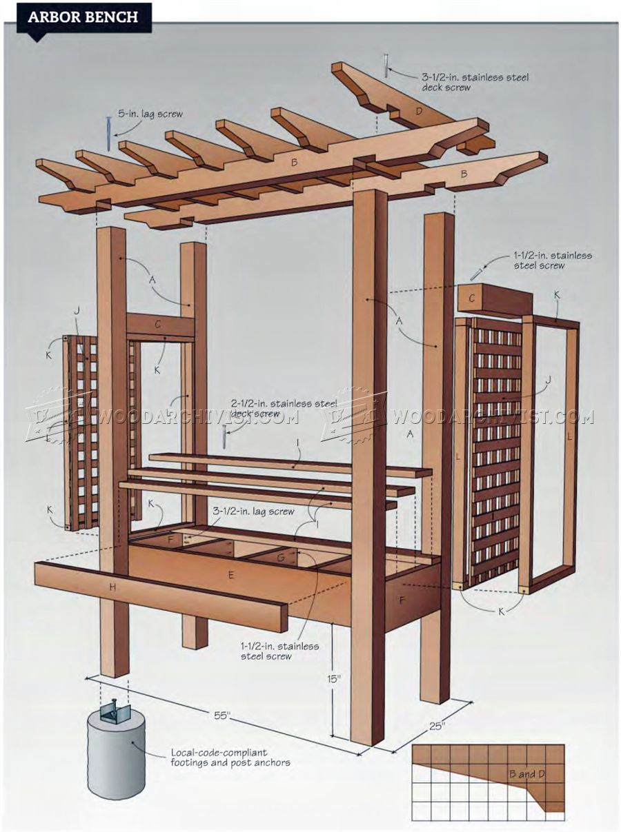 Arbor Bench Plans • WoodArchivist