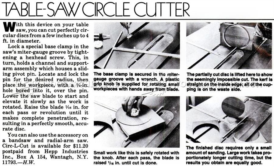 Table Saw Circle Cutting Jig