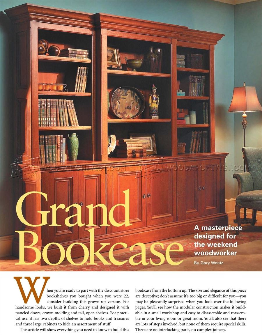 Grand Bookcase Plans • WoodArchivist