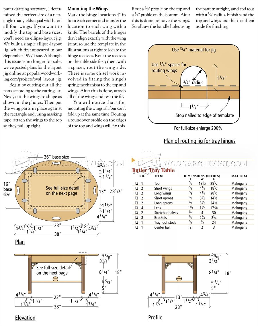 Tray Table Plans