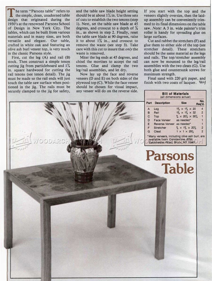 Parsons Table Plans
