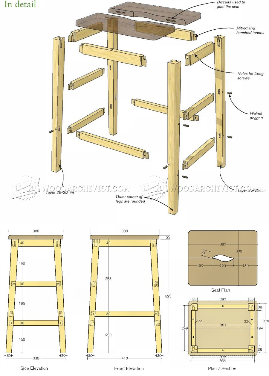 Bench Stool Plans Woodarchivist