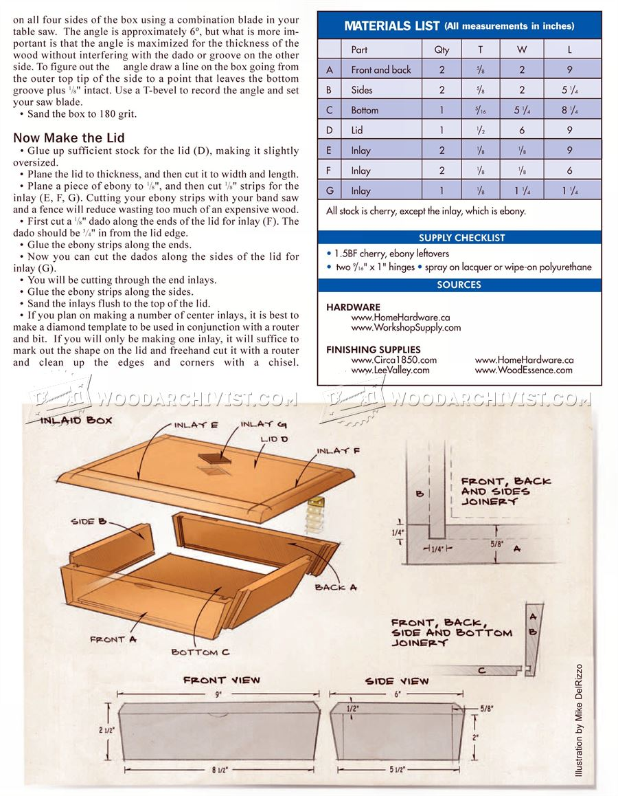 Inlay Box Plans