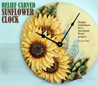 2531-Relief Carving Patterns - Sunflower Clock