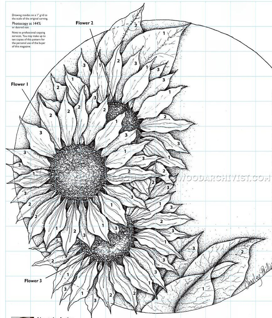 Relief Carving Patterns - Sunflower Clock