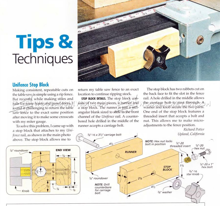Table Saw Fence Stop Block