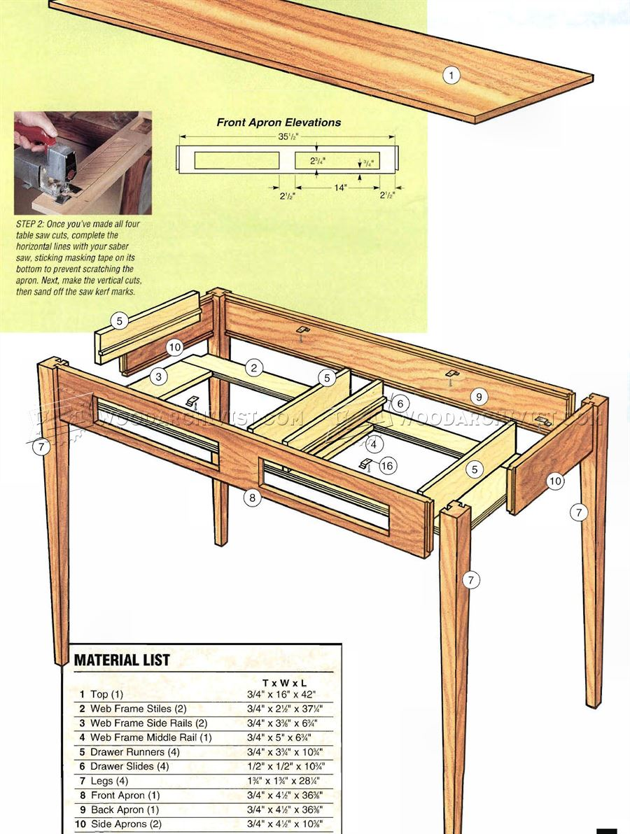 Shaker Hall Table Plans