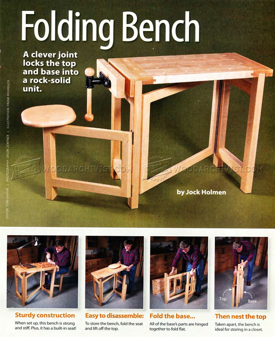 #2600 Folding Wood Carving Bench Plans