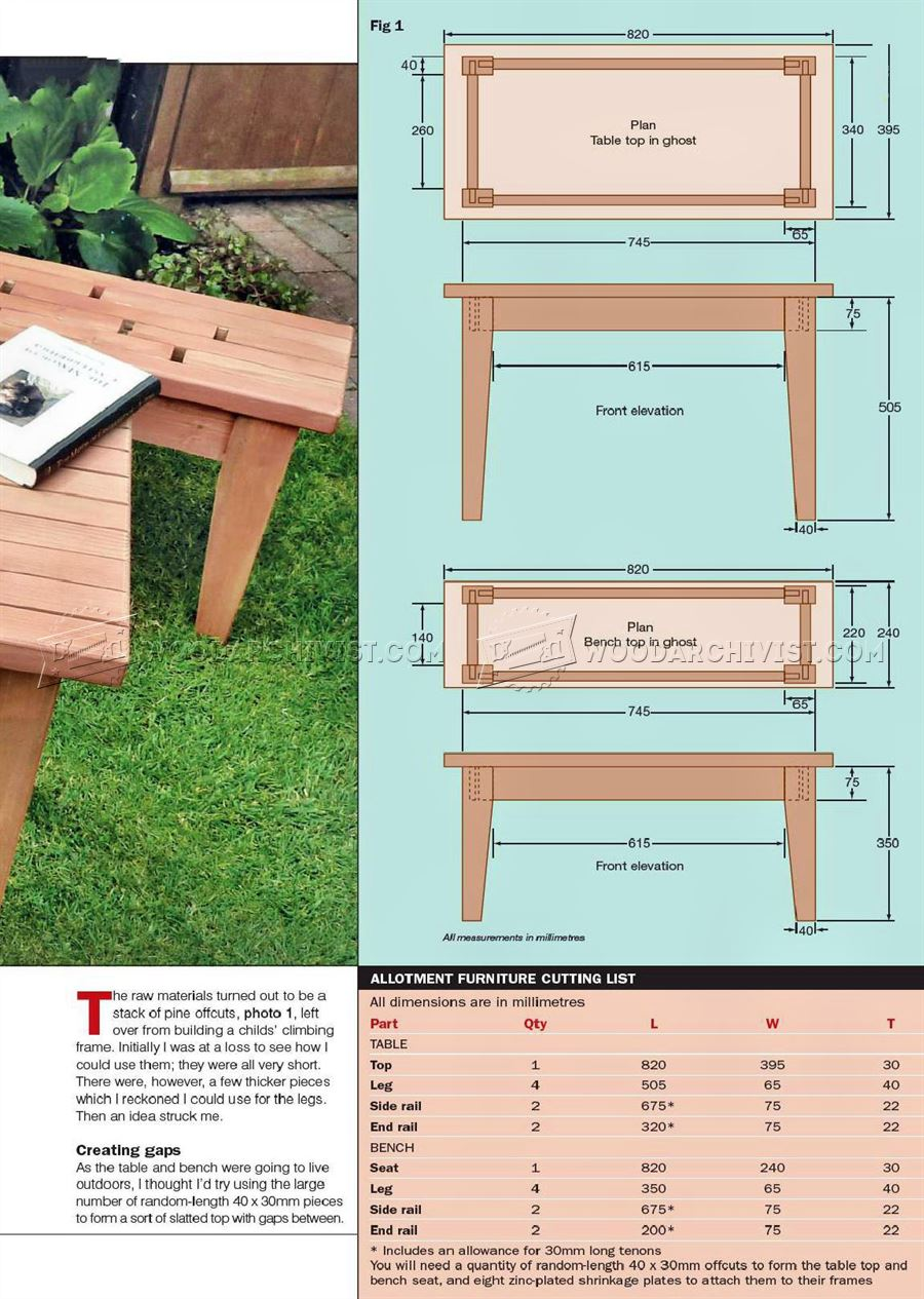Small Table and Bench Plans