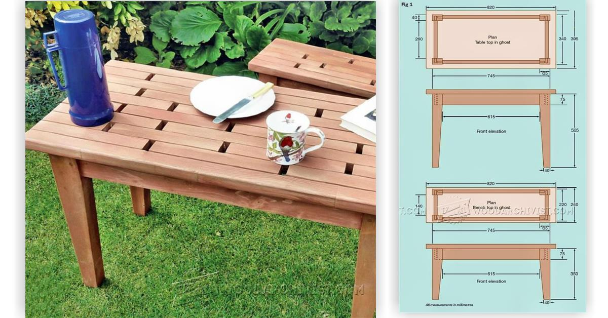small table and bench plans woodarchivist. Black Bedroom Furniture Sets. Home Design Ideas