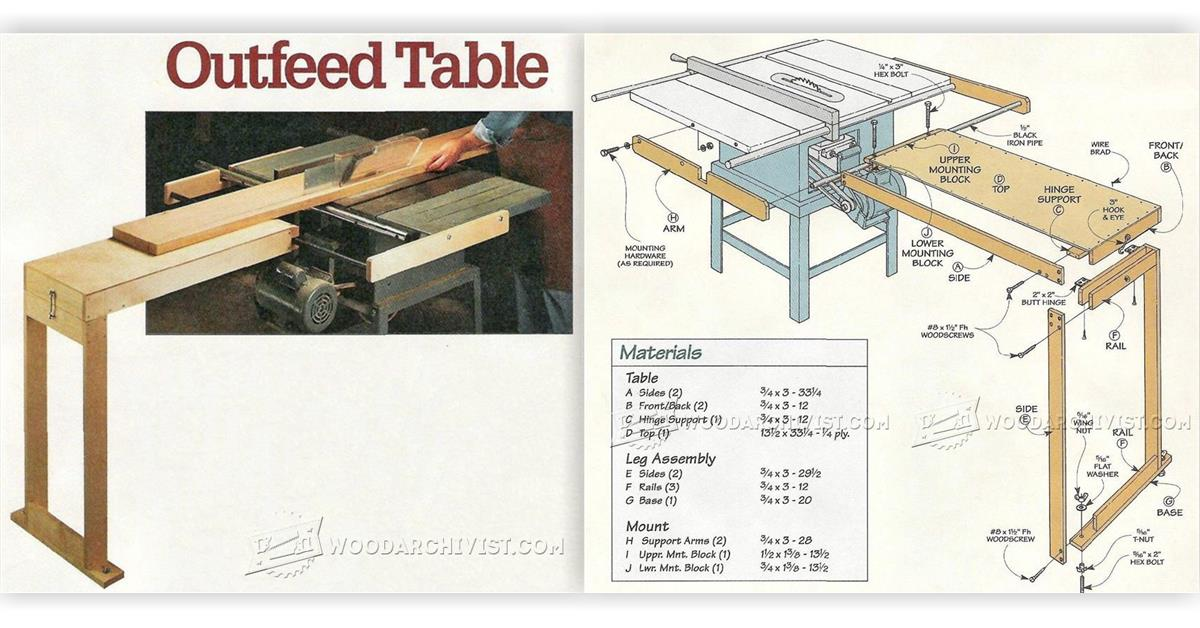 2624 Table Saw Outfeed Table Plans • WoodArchivist