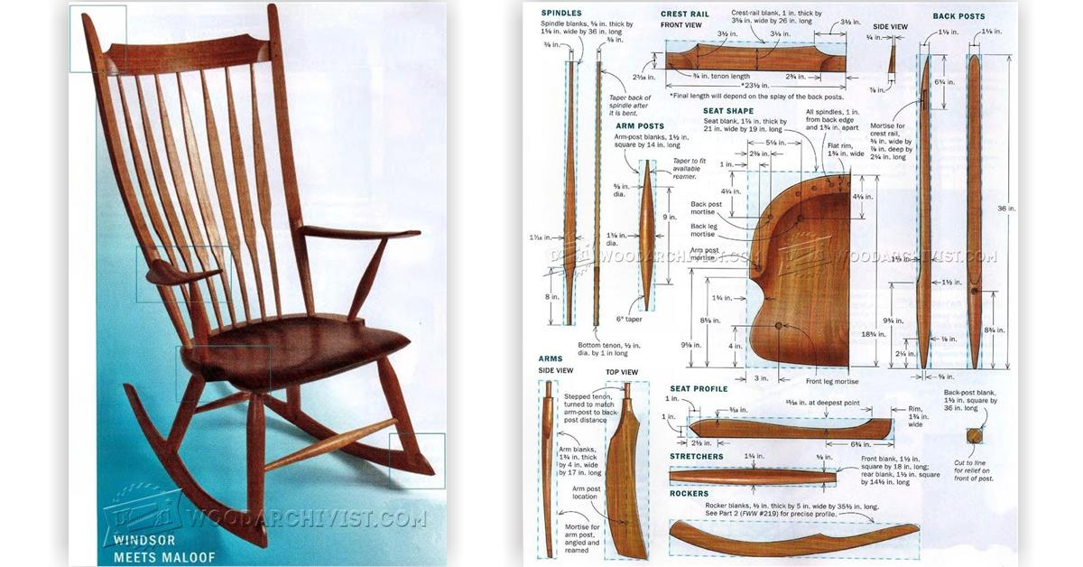 Windsor rocking chair plans woodarchivist for Rocking chair design plans