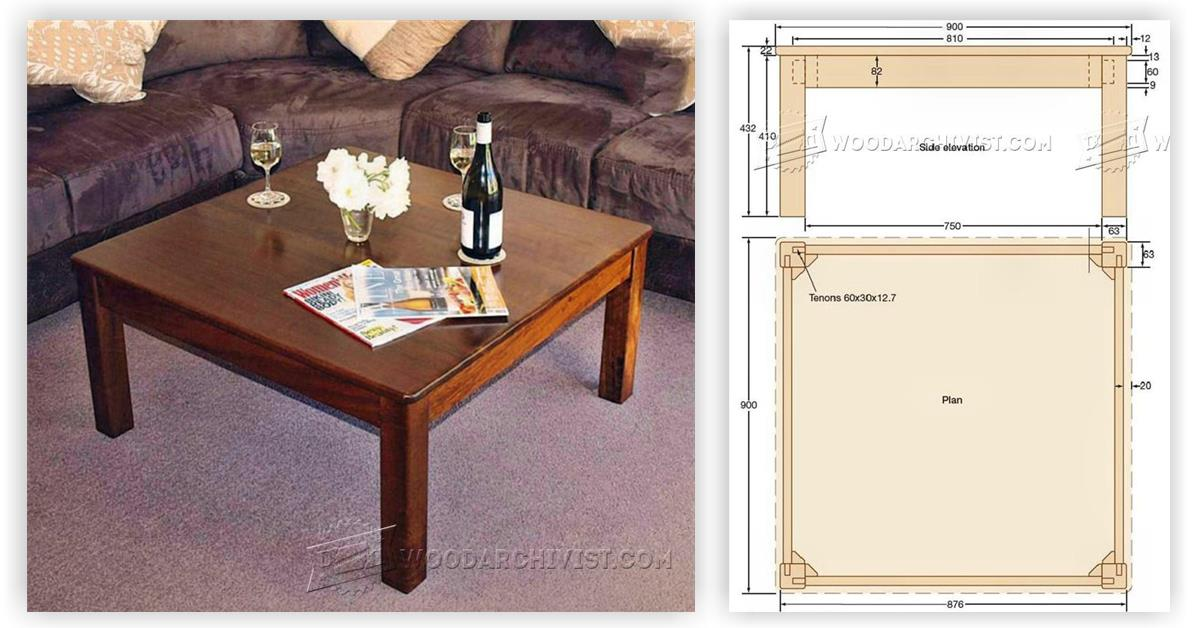 Square coffee table plans woodarchivist for Square coffee table plans