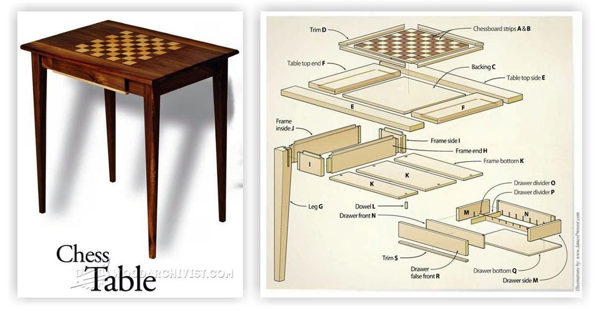Chess table plans woodarchivist for Triangle end table plans