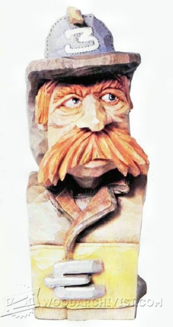 2995-Fireman Bust - Carving Caricature