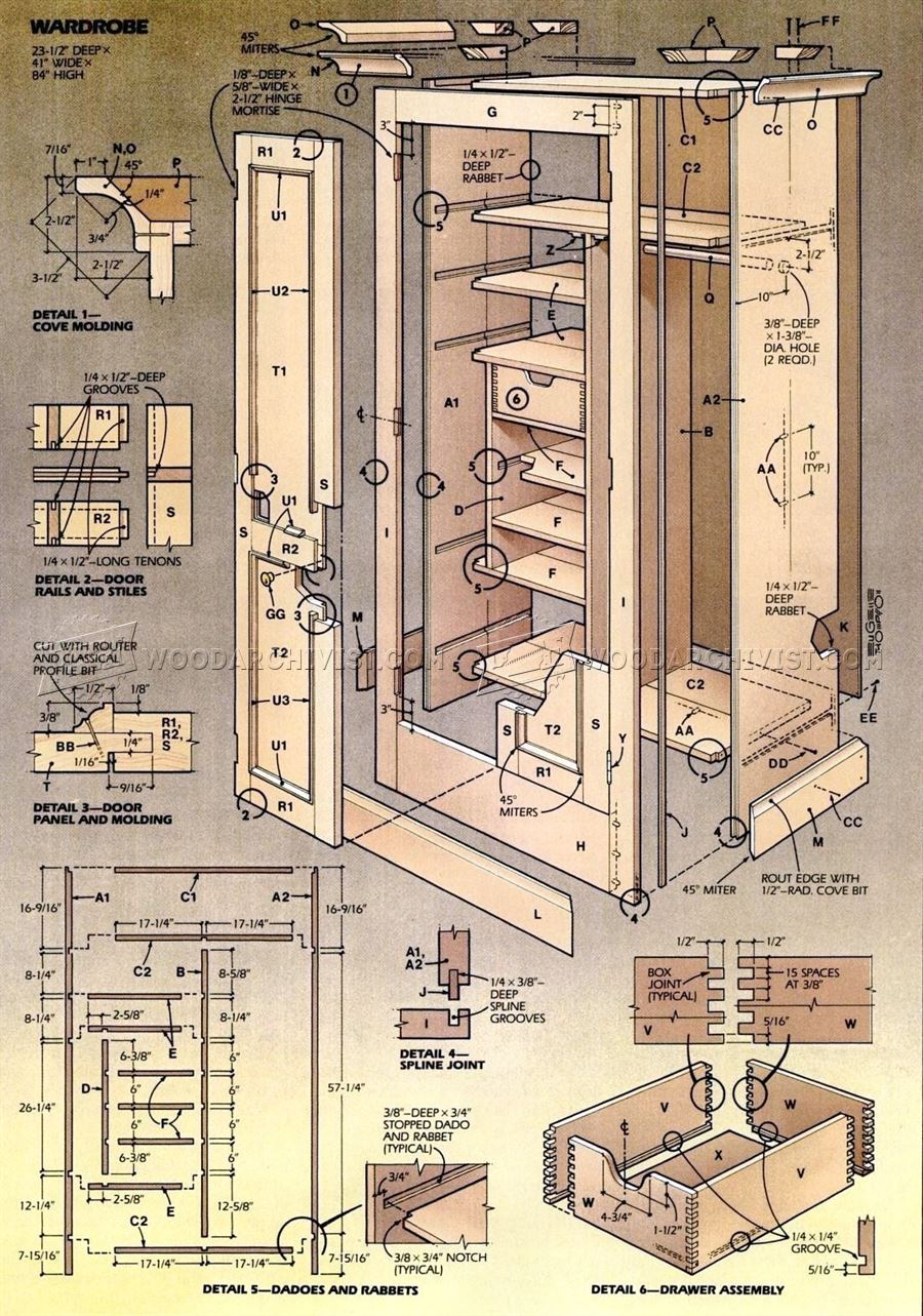 Wardrobe plans woodarchivist for Wardrobe cabinet design woodworking plans