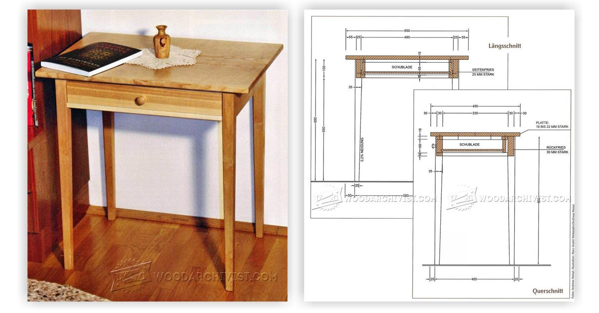 One drawer side table plans woodarchivist for Side table plans