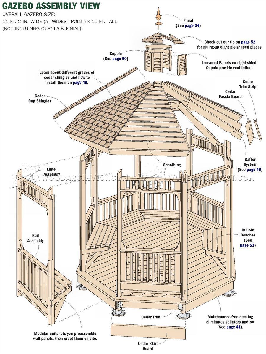 25 beautiful gazebo plans woodworking plans for Simple gazebo plans