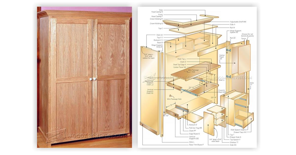 Computer armoire plans woodarchivist for Wardrobe cabinet design woodworking plans