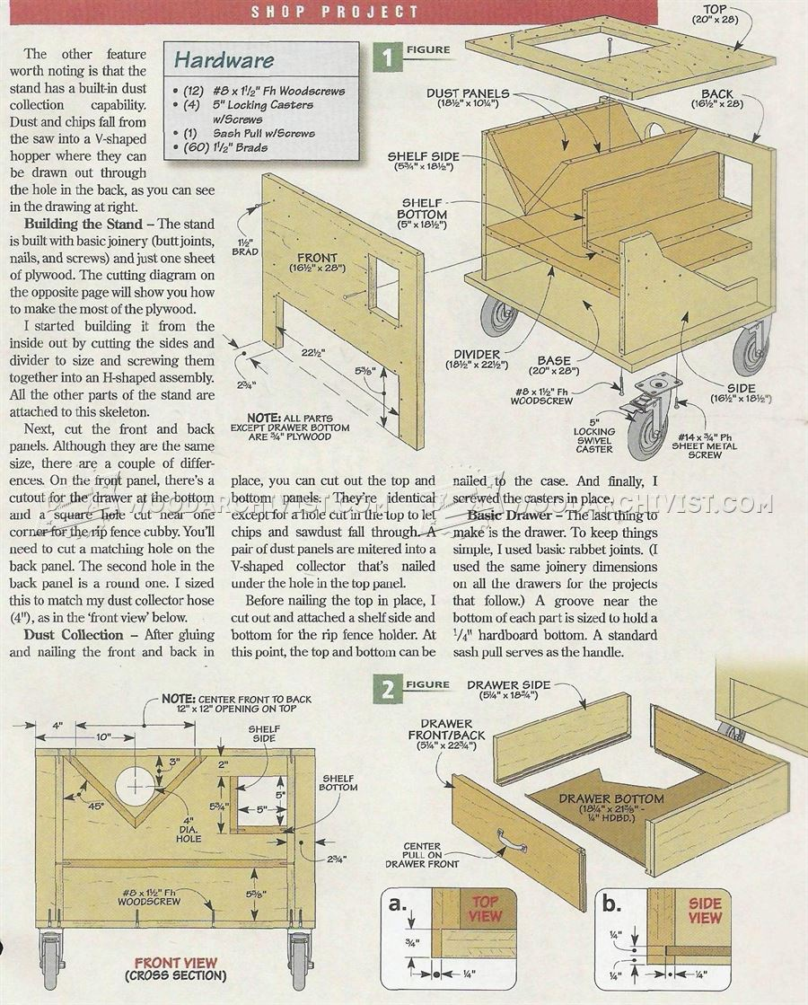 Rolling Table Saw Stand Plans
