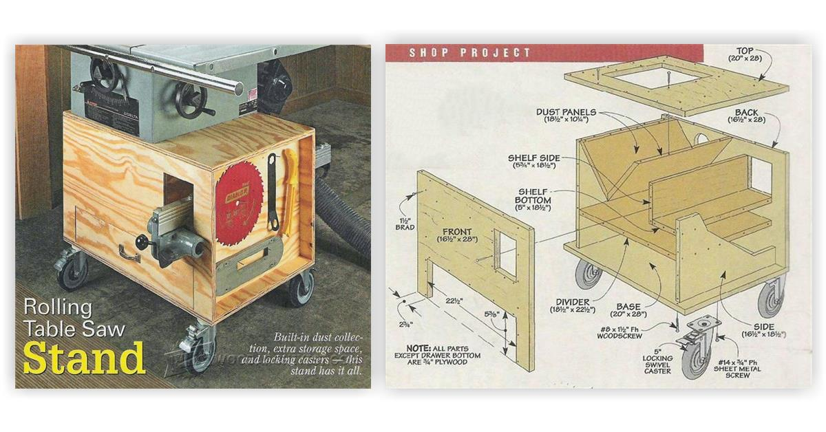 Rolling Table Saw Stand Plans Woodarchivist