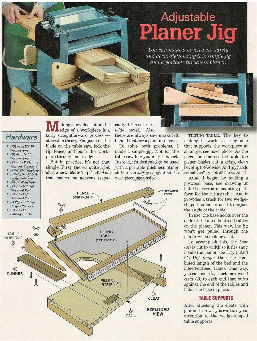 Bevel Adjustable Planer Jig