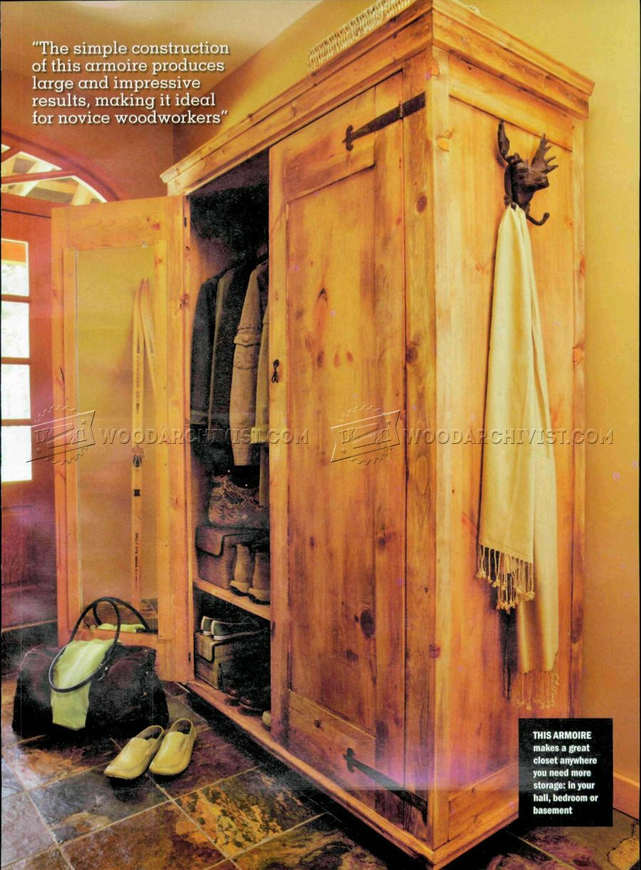 Rustic armoire plans woodarchivist Wardrobe cabinet design woodworking plans