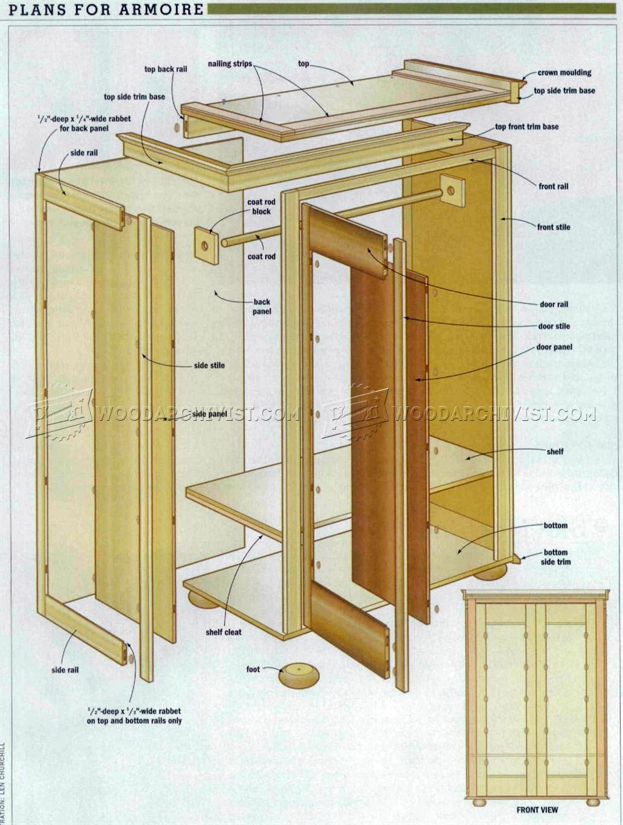 Rustic armoire plans woodarchivist for Wardrobe cabinet design woodworking plans