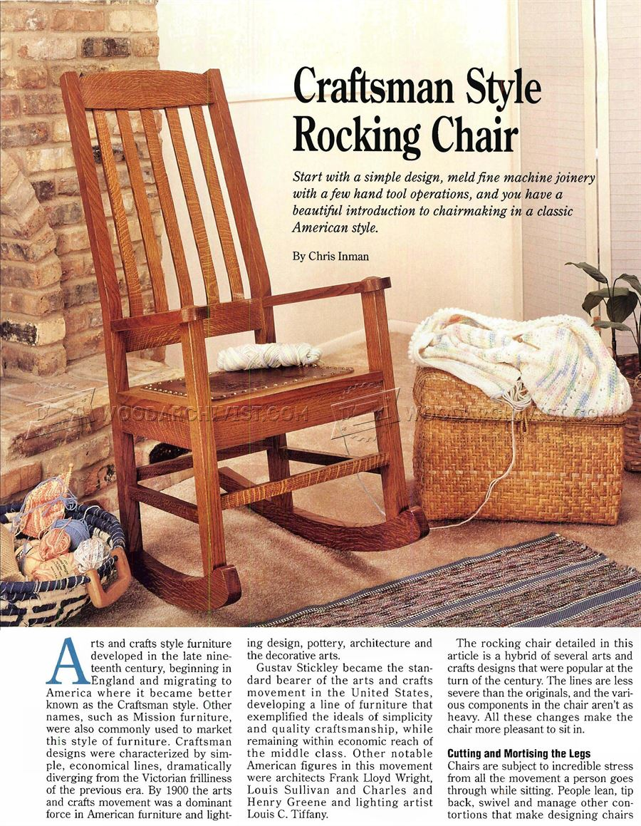 Craftsman rocking chair plans woodarchivist for Craftsman furniture plans