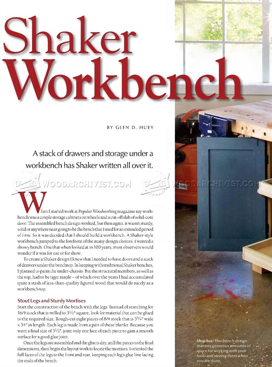 Shaker Workbench Plans