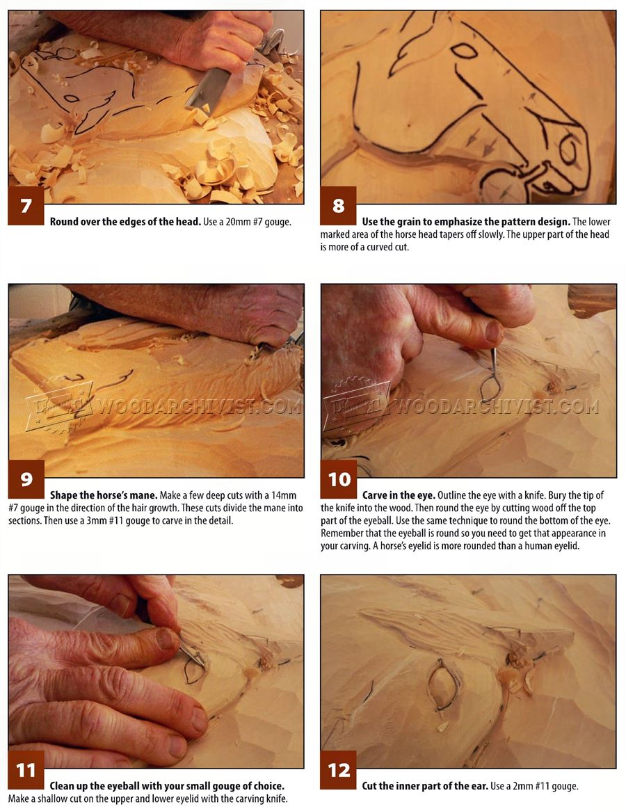 Horse portrait relief carving patterns woodarchivist