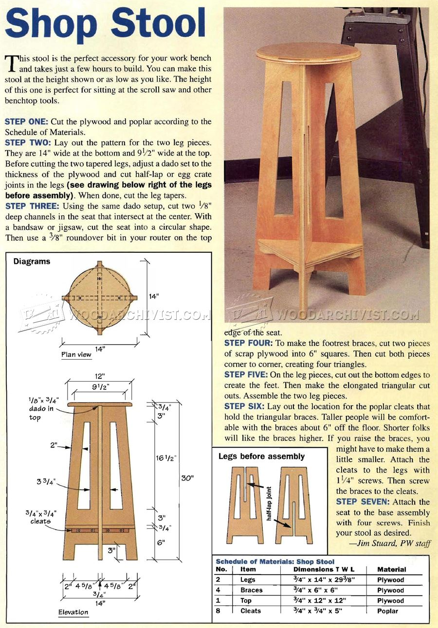 Simple Shop Stool Plans - Furniture Plans Workshop Solutions