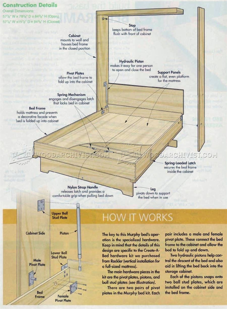 2932 Murphy Bed Plans - Furniture Plans