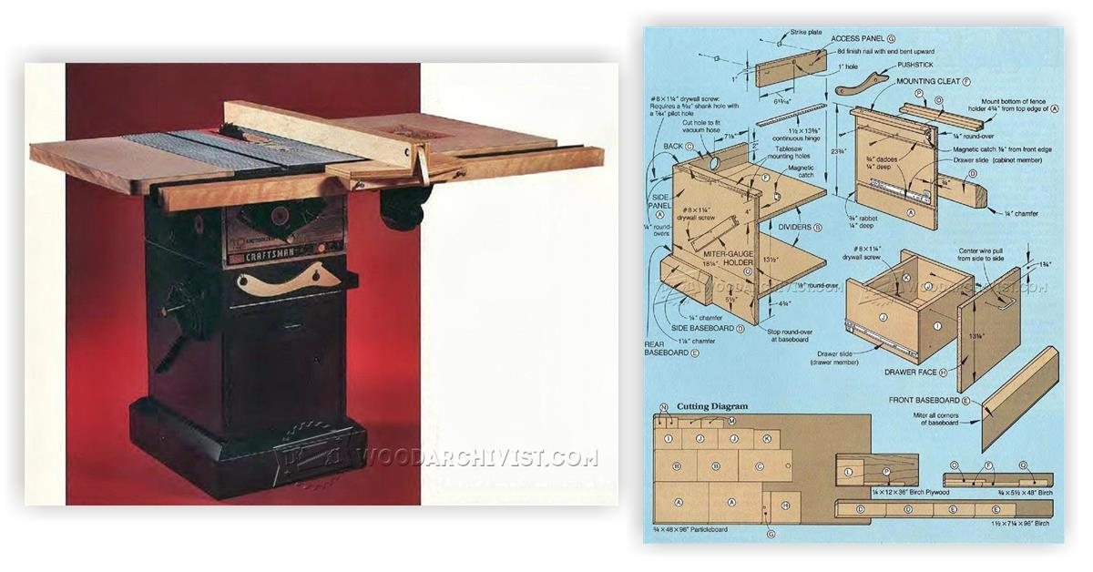 Table saw stand diy plans tag fold power tool company for Table saw cabinet plans free