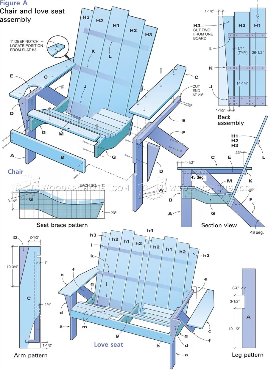 Adirondack love seat plans woodarchivist for Adirondack house plans