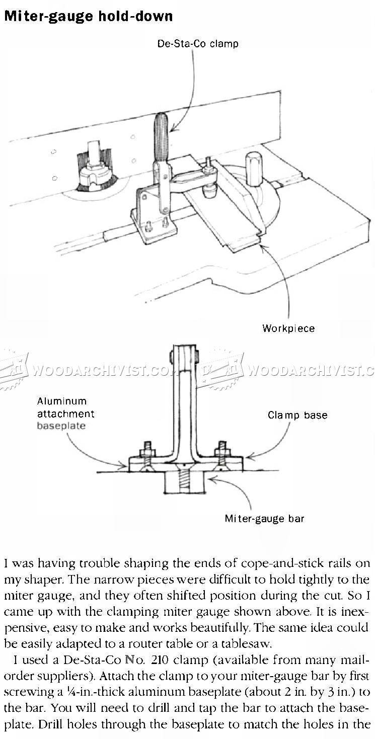 Miter Gauge Hold Down