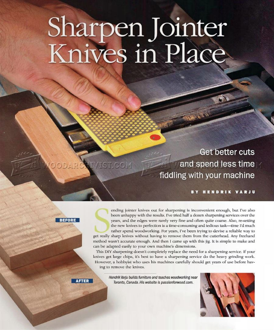 Sharpening Jointer Knives in Place