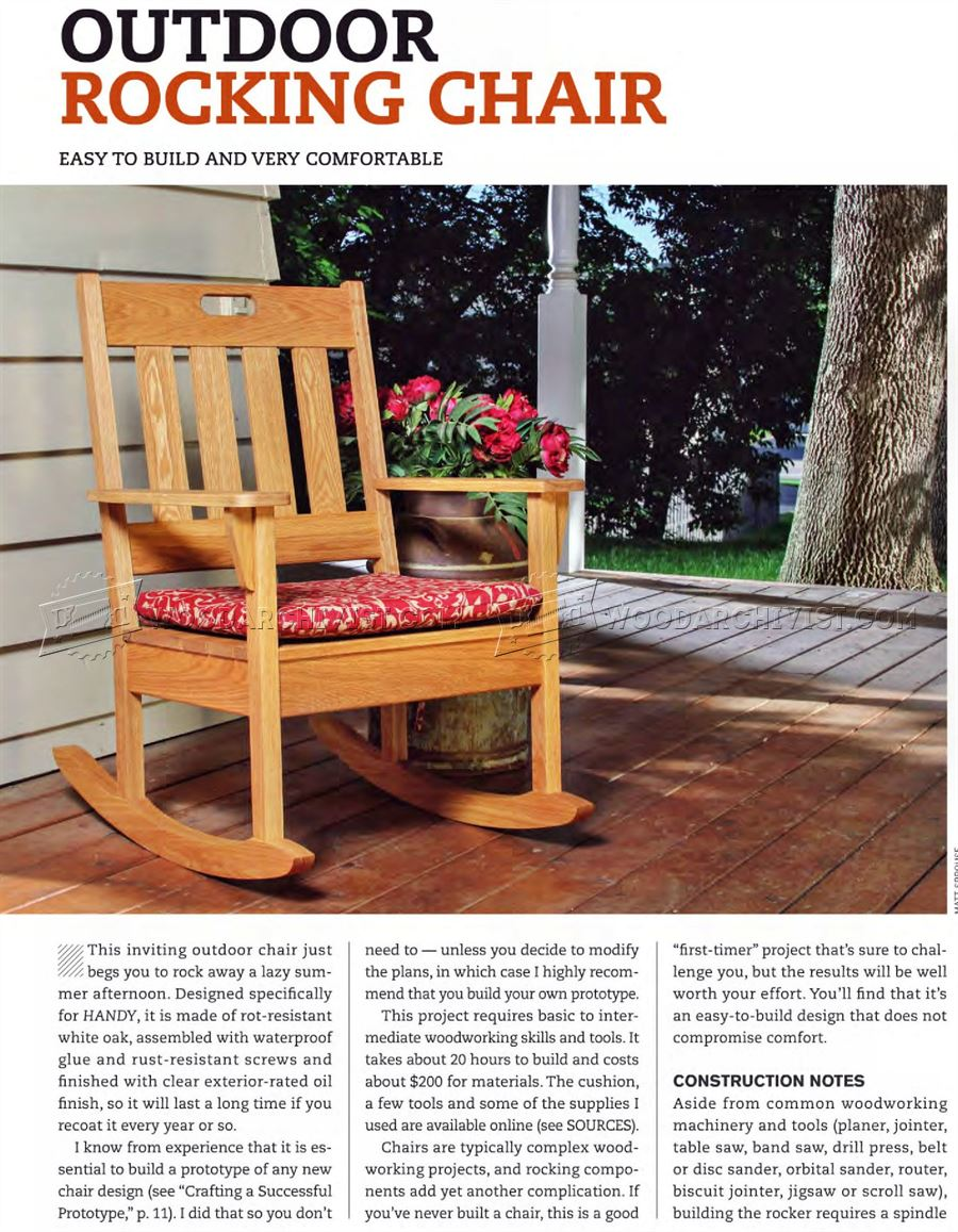 outdoor rocking chair plans woodarchivist