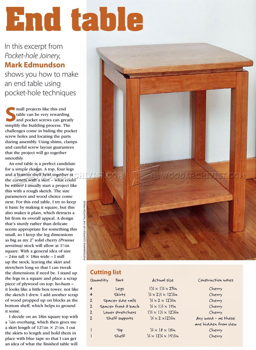 Build End Table WoodArchivist - How to build an end table