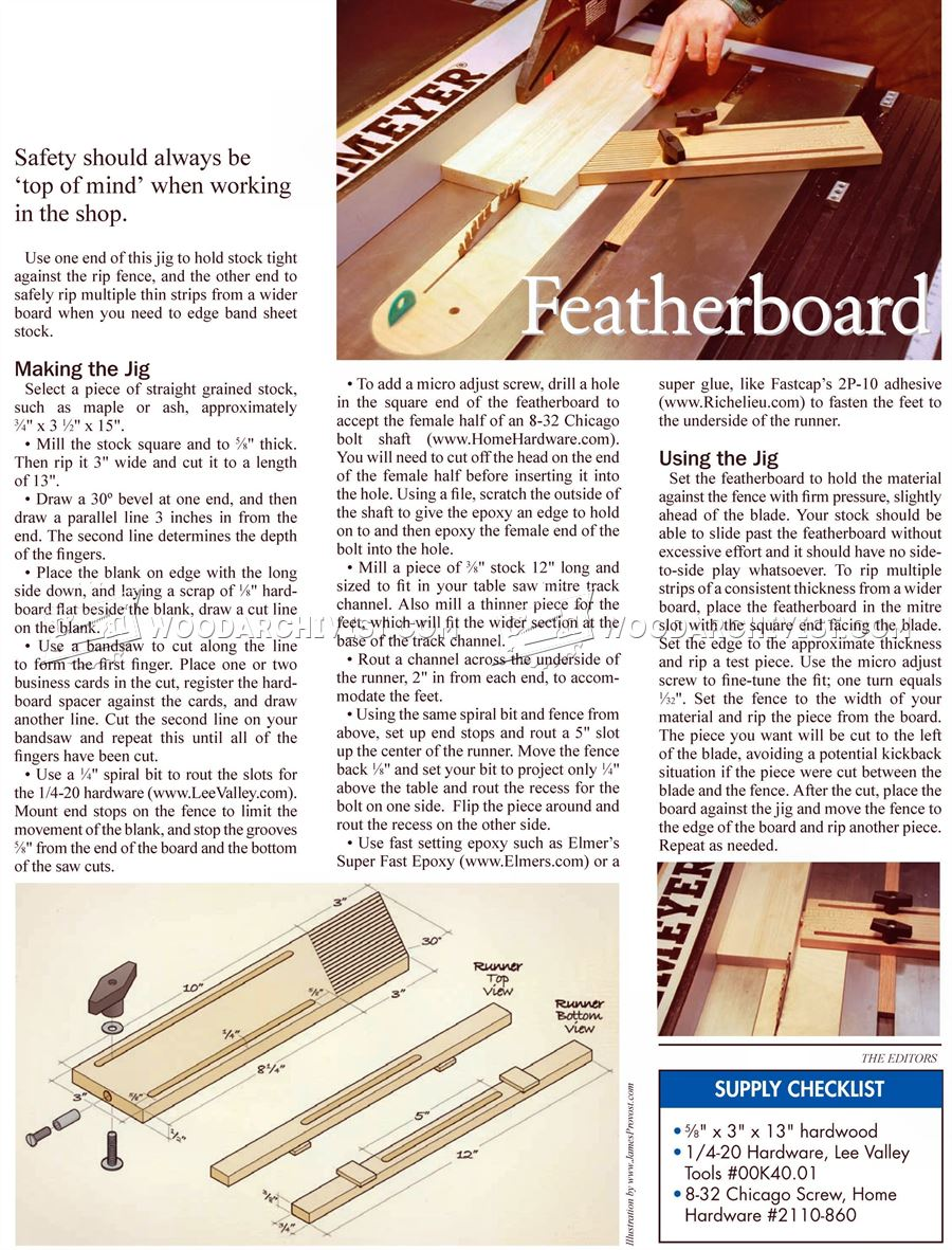Table Saw Featherboard Jig