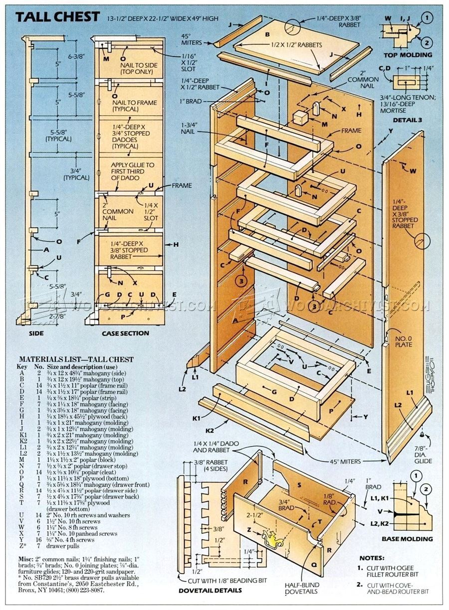 Tall Chest of Drawers Plans