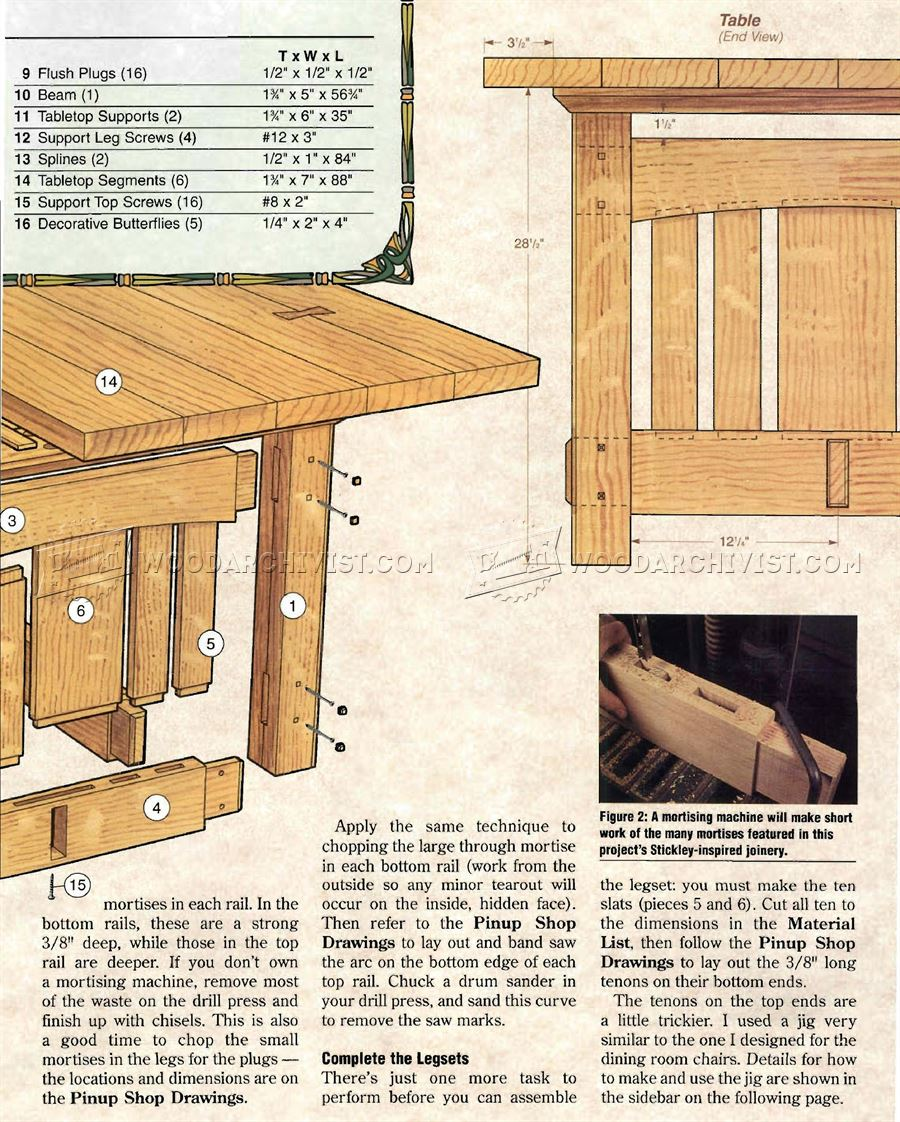 Arts and Crafts Dining Table Plans