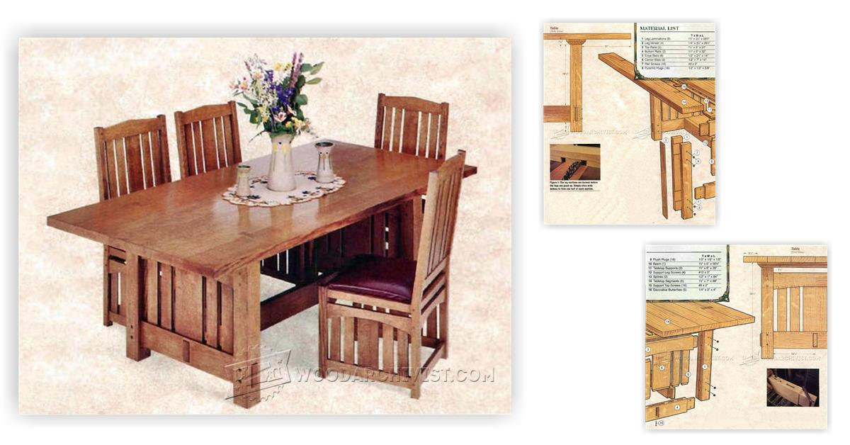 Arts and Crafts Dining Table Plans WoodArchivist : 3032 Arts and Crafts Dining Table Plans f from woodarchivist.com size 1200 x 628 jpeg 92kB