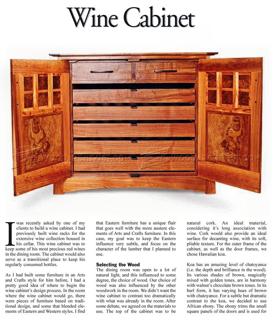 Kitchen Cabinet Woodworking Plans: Wine Cabinet Plans • WoodArchivist