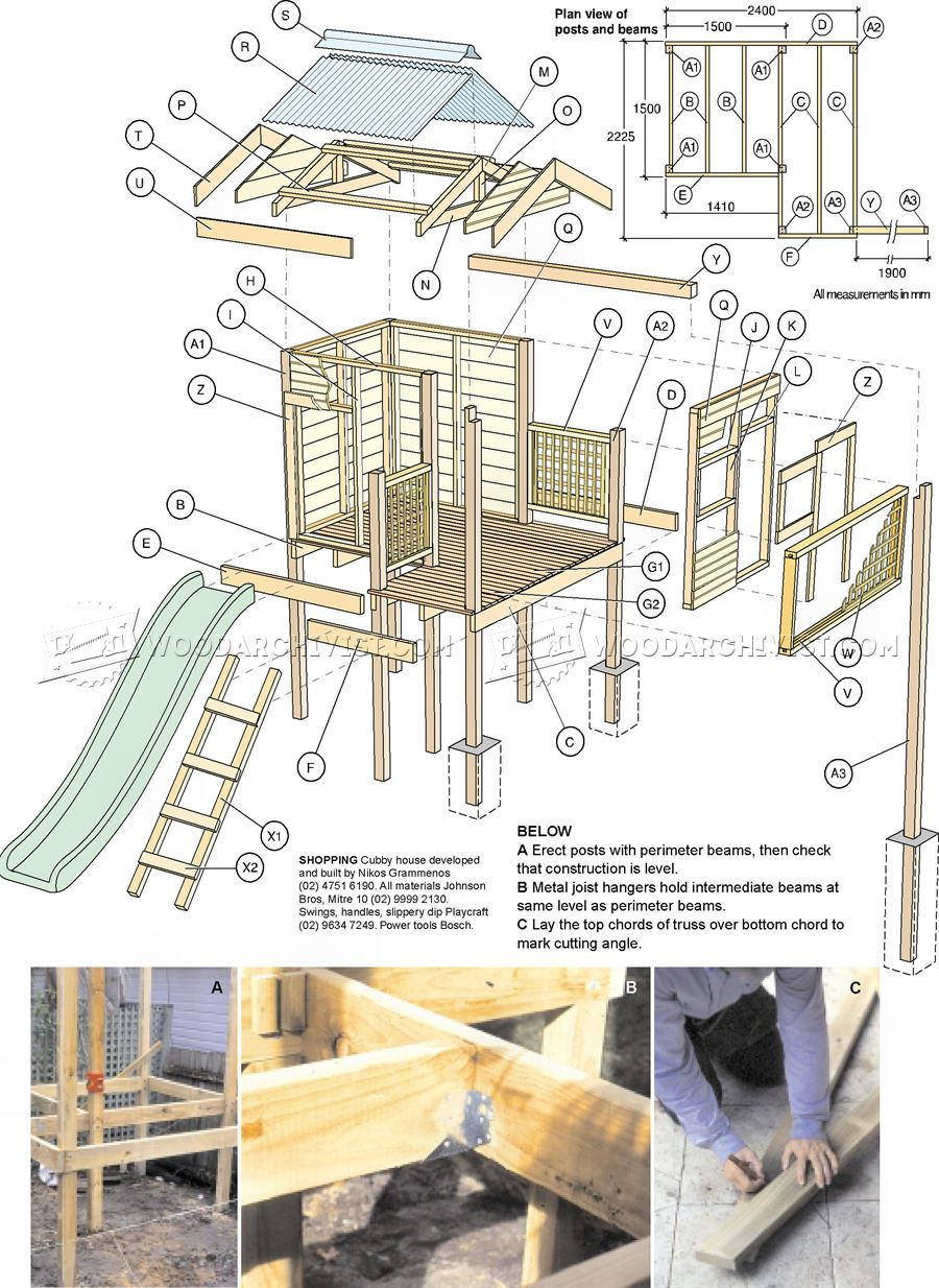 Backyard playhouse plans woodarchivist for Blueprints for playhouse