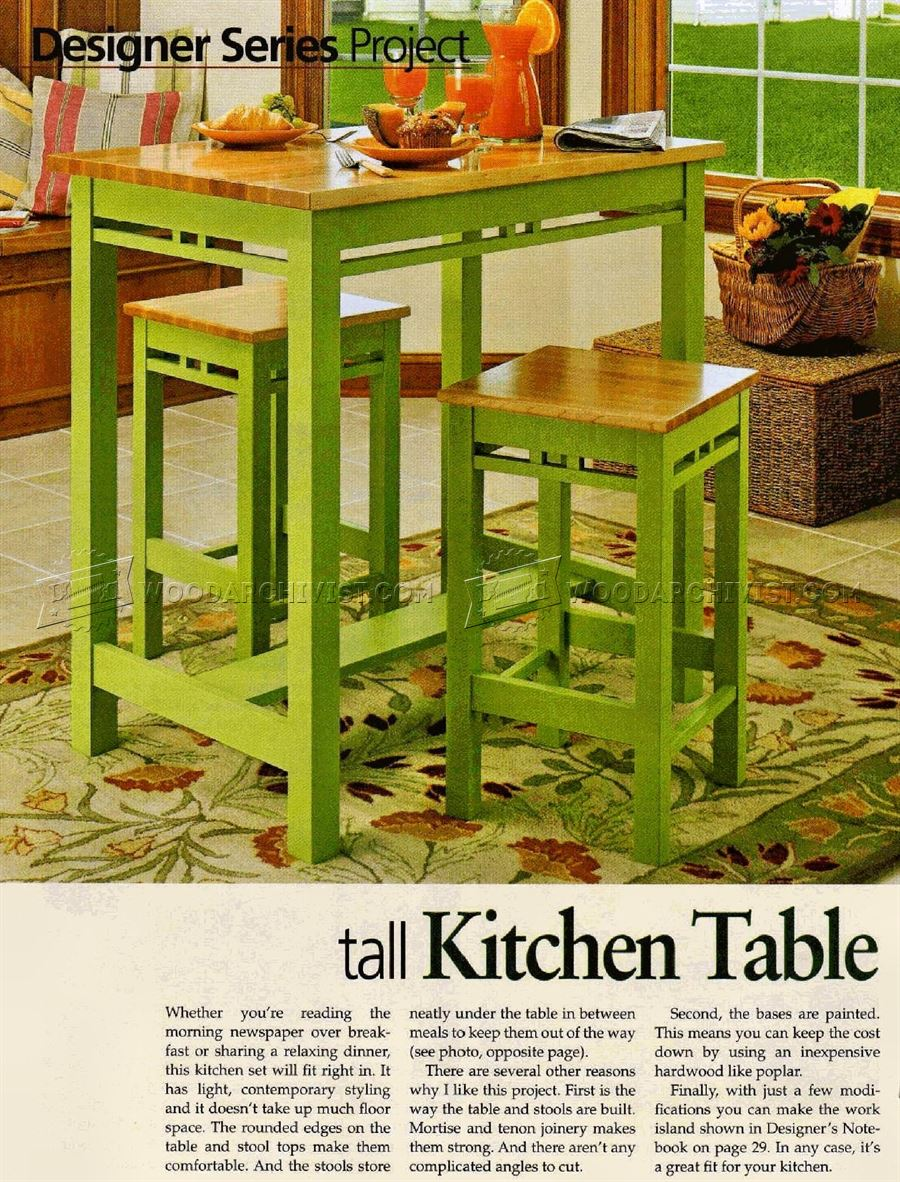 Tall kitchen table plans woodarchivist - Wood kitchen table plans ...