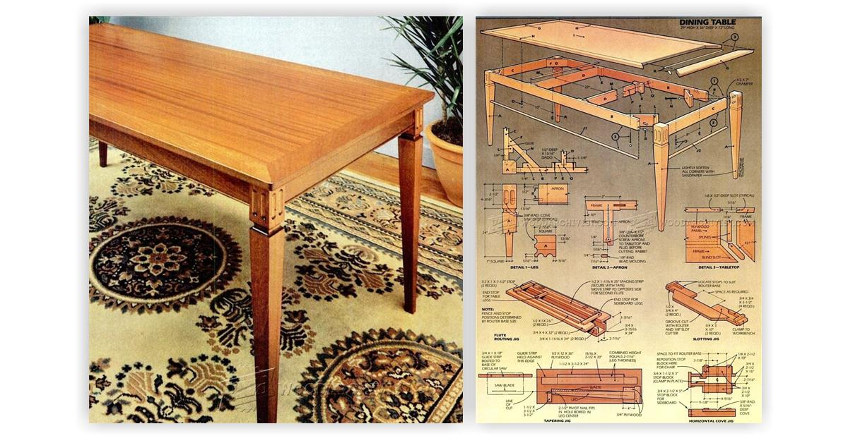 dining room table plans woodarchivist
